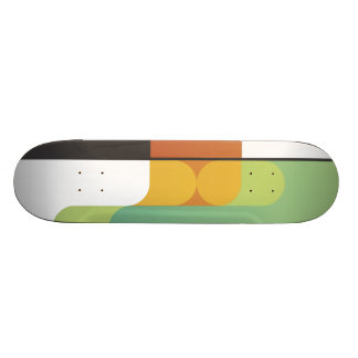 colorful abstract retro art linear geometric green skate board deck