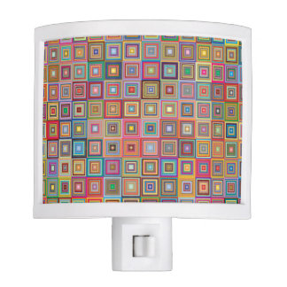 Colorful Abstract Retro Squares Nite Light