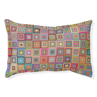 Colorful Abstract Retro Squares Small Dog Bed