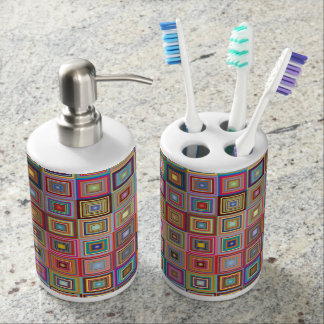 Colorful Abstract Retro Squares Toothbrush Holder