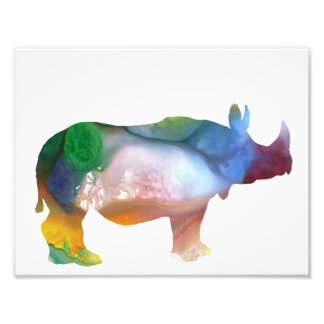 Colorful abstract Rhinoceros silhouette Photographic Print