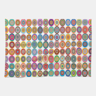 Colorful Abstract Small Concentric Circles Art Kitchen Towel
