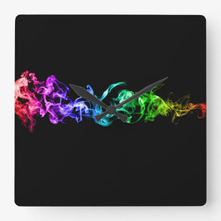 Colorful Abstract Smoke - A Rainbow in the Dark Wall Clock