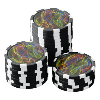 Colorful abstract smoke on black background poker chips