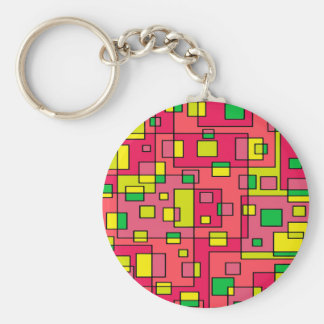Colorful Abstract Square-Red Yello Green Backgroun Basic Round Button Keychain