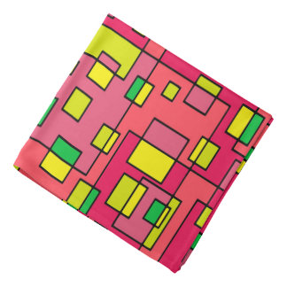 Colorful Abstract Square-Red Yello Green Backgroun Do-rag