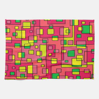 Colorful Abstract Square-Red Yello Green Backgroun Hand Towels