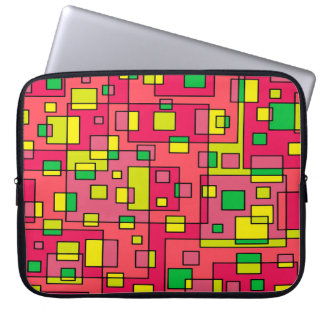 Colorful Abstract Square-Red Yello Green Backgroun Laptop Sleeve