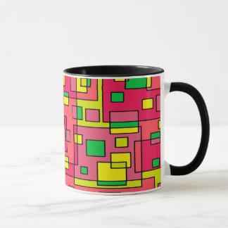 Colorful Abstract Square-Red Yello Green Backgroun Mug