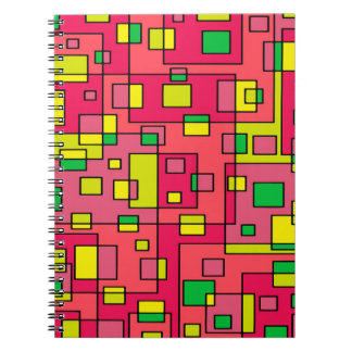 Colorful Abstract Square-Red Yello Green Backgroun Notebook