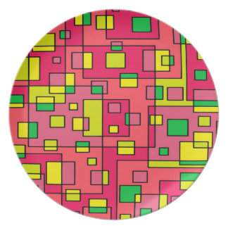 Colorful Abstract Square-Red Yello Green Backgroun Party Plates