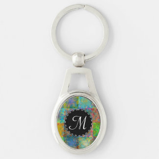 Colorful abstract squares Silver-Colored oval keychain