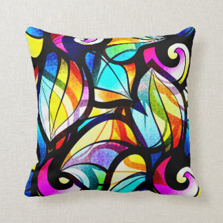 Colorful Abstract Stained-glass Design Throw Pillow