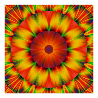 Colorful Abstract Starburst Artwork Wall Poster