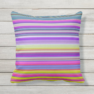 Colorful Abstract Stripe Print Outdoor Pillow