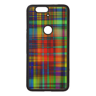 Colorful Abstract Stripes Art Wood Nexus 6P Case