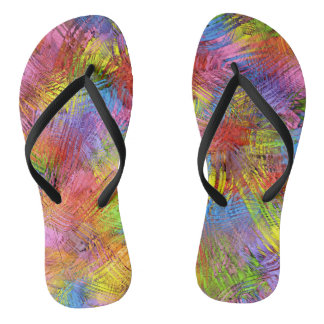 Colorful Abstract Summer Tropical Flip Flops