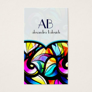 Colorful Abstract Swirls Stained Glass Template Business Card