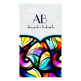 Colorful Abstract Swirls Stained Glass Template Pack Of Standard Business Cards