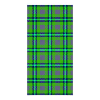 Colorful abstract tartan pattern photo card