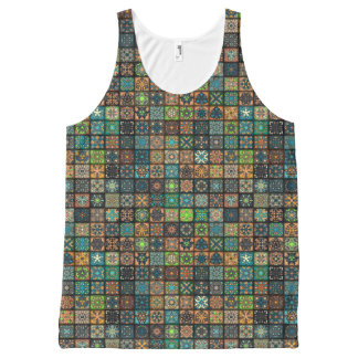 Colorful abstract tile pattern design All-Over-Print tank top