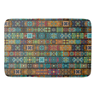 Colorful abstract tile pattern design bath mat