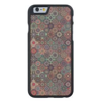 Colorful abstract tile pattern design carved maple iPhone 6 case