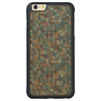 Colorful abstract tile pattern design carved maple iPhone 6 plus bumper case