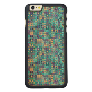 Colorful abstract tile pattern design carved maple iPhone 6 plus case