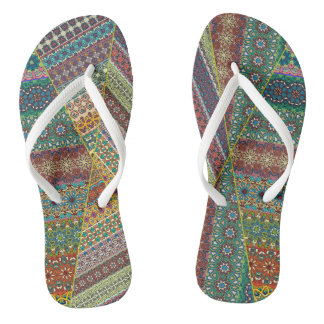 Colorful abstract tile pattern design flip flops