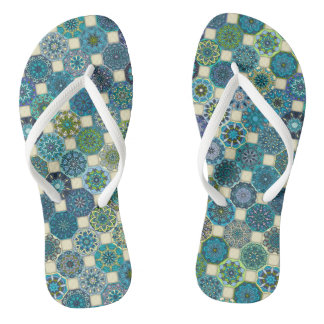 Colorful abstract tile pattern design flip flops