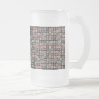 Colorful abstract tile pattern design frosted glass beer mug