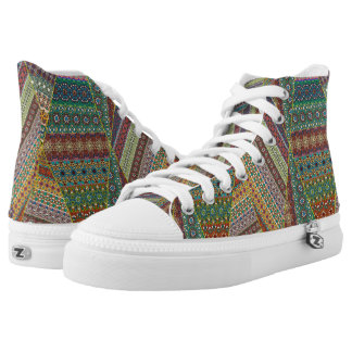 Colorful abstract tile pattern design high tops