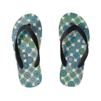 Colorful abstract tile pattern design kid's flip flops