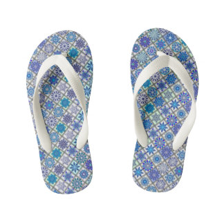 Colorful abstract tile pattern design kid's flip flops
