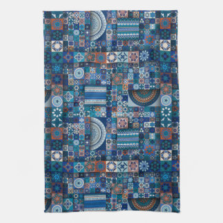 Colorful abstract tile pattern design kitchen towel