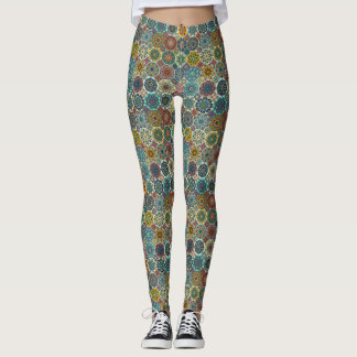 Colorful abstract tile pattern design leggings