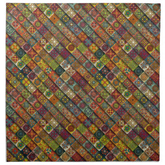 Colorful abstract tile pattern design napkin