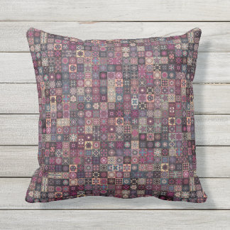 Colorful abstract tile pattern design outdoor pillow
