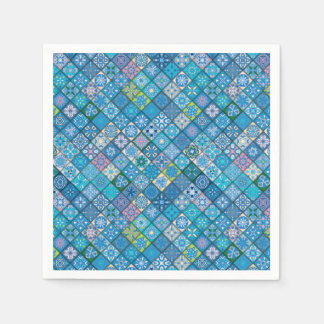Colorful abstract tile pattern design paper napkin