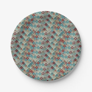 Colorful abstract tile pattern design paper plate