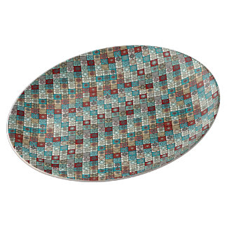 Colorful abstract tile pattern design plate