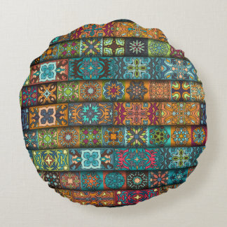 Colorful abstract tile pattern design round pillow