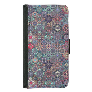 Colorful abstract tile pattern design samsung galaxy s5 wallet case