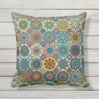 Colorful abstract tile pattern design throw pillow