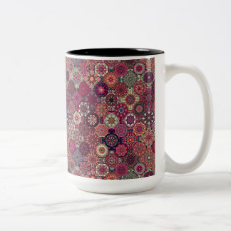 Colorful abstract tile pattern design Two-Tone coffee mug
