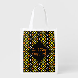 Colorful Abstract Tribal Pattern Typography Reusable Grocery Bag