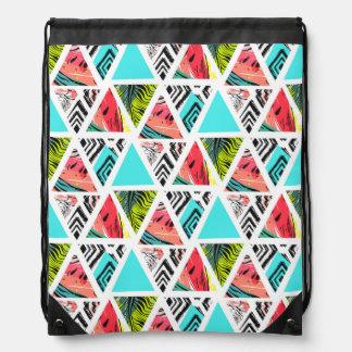 Colorful Abstract Tropical Pattern Drawstring Bag