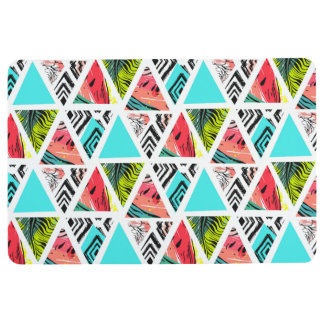 Colorful Abstract Tropical Pattern Floor Mat