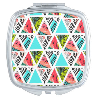 Colorful Abstract Tropical Pattern Makeup Mirrors